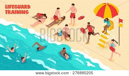 Lifeguard Training Horizontal Vector Illustration Showing Watching People Who Swim And Saving Drowni