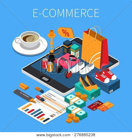 E-commerce Online Shopping Isometric Composition With Credit Card Cash Purchased Shoes On Tablet Scr