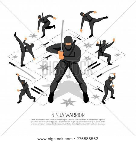 Ninja Warrior Unbeatable Stickman Character In Various Action Poses Isometric Interactive Video Game