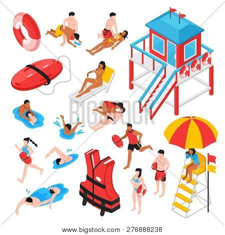 Beach Lifeguard Isometric Set Of Lifeguard Station Rescue Inventory And Savers Performing Artificial
