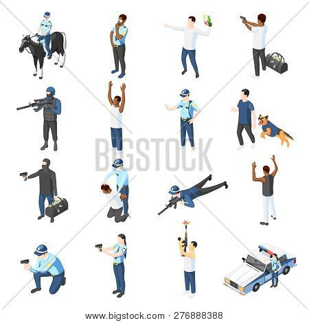 Gangs And Police Isometric Icons Set Of Officer With Weapons Training Patrolling Chasing Criminal Is