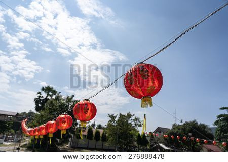 Chinese Language Mean Rich Or Wealthy And Happy.shot Of Arrangement Decoration Chinese New Year & Lu