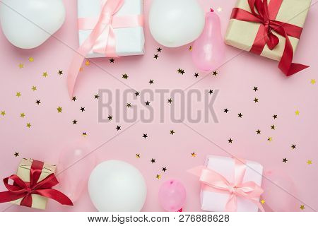 Table Top View Of Birthday Decorations & Happy New Year Ornaments Concept.flat Lay Essential Objects