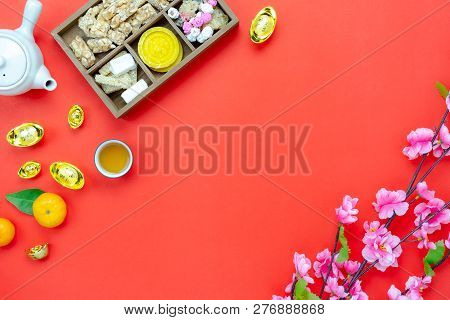Chinese Language Mean Rich Or Wealthy And Happy.table Top View Lunar New Year & Chinese New Year Vac