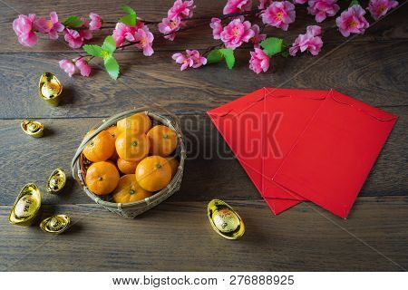 Chinese Language Mean Rich Or Wealthy And Happy.table Top View Of Accessories On Lunar New Year & Ch