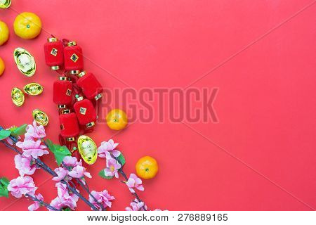 Top View Accessories On Lunar New Year & Chinese New Year Vacation Concept Background.orange With Re