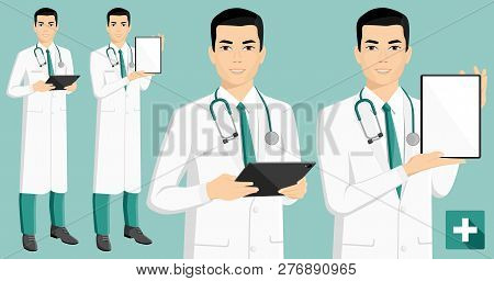 Asian Medical Doctor With Digital Tablet. Vector Illustration
