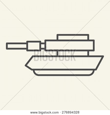 Tank Thin Line Icon. Panzer Vector Illustration Isolated On White. Machine Outline Style Design, Des
