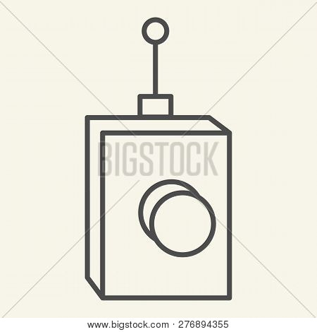 Remote Controller Thin Line Icon. Remote Controller With Antena Vector Illustration Isolated On Whit