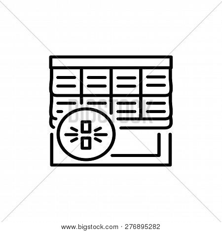 Black & White Vector Illustration Of Roman Wood Curtain Shutter. Line Icon Of Window Horizontal Wood