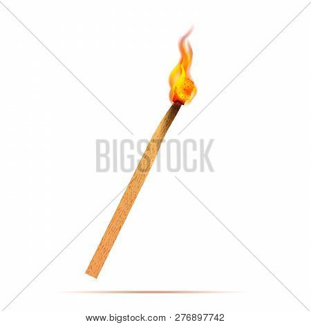 Bright Realistic Match With Fire Flames Isolated On White