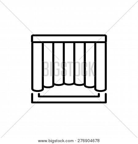 Black & White Vector Illustration Of Shaped Curtain Shutter. Line Icon Of Window Vertical Blind Jalo