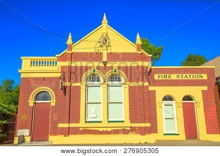 York, Australia - Dec 25, 2017: Front View Of Former Fire Station On Avon Terrace, York, A Popular T
