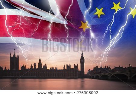 No Deal Brexit Concept Image Of Lightning Over London And Uk And Eu Flags Symbolising Destruction Of