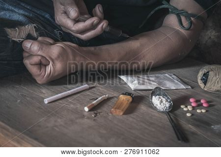 Man Drugs Addicted Injecting Heroin In His Arm, Drug Addict Man With Syringe Using Drugs, Drugs Conc