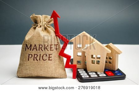Money Bag With The Word Market Price And An Up Arrow With A Calculator And Wooden Houses. The Concep