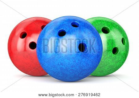 Red, Green And Blue Glossy Bowling Balls Isolated On White