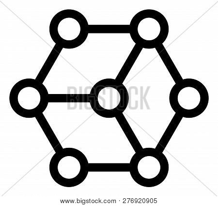 Blockchain Vector Icon Symbol. Flat Pictogram Is Isolated On A White Background. Blockchain Pictogra
