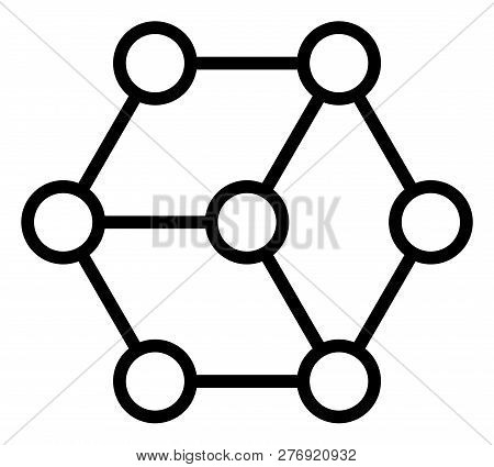 Blockchain Nodes Vector Icon Symbol. Flat Pictogram Is Isolated On A White Background. Blockchain No