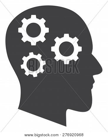Brain Gears Vector Icon Symbol. Flat Pictogram Is Isolated On A White Background. Brain Gears Pictog