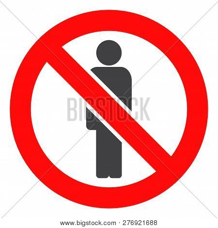 Forbidden Man Vector Icon Symbol. Flat Pictogram Is Isolated On A White Background. Forbidden Man Pi