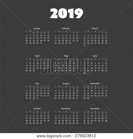 Dark Simple 2019 Calendar - Vector Print Template Design