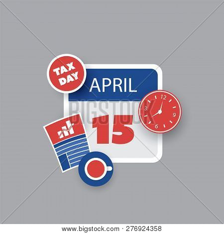 Tax Day Reminder Concept - Calendar Design Template - Usa Tax Deadline, Due Date For Federal Income