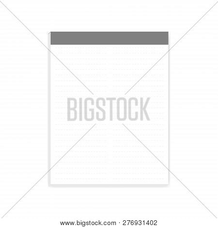 White Note Paper Letter Size Block, Realistic Vector Mock-up. Two Column Dashed Lined Glue-top Writi