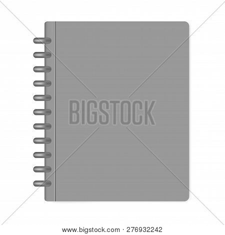 Closed Letter Size Discbound Notebook, Mock-up. Gray Disc Bound Note Book Folder Isolated On White B
