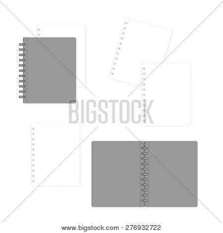 Closed And Open Letter Size Disc Bound Notebook Folder With White Filler Paper Sheets, Mock-up. Disc