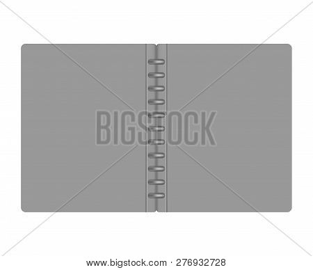 Open Letter Size Gray Refillable Disc Bound Notebook Folder, Mock-up. Empty Discbound Note Book Cove