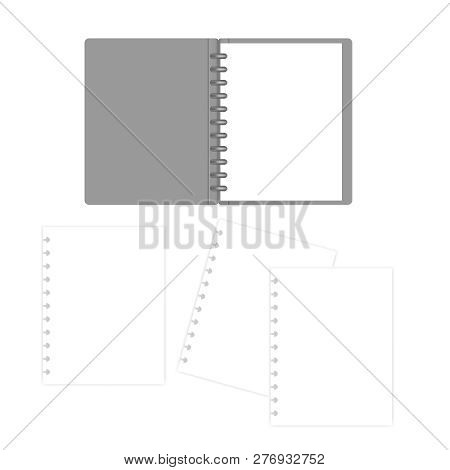 Open Letter Size Disc Bound Notebook With White Filler Paper Sheets, Mock-up. Discbound Refillable B