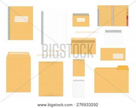 Stationery Mockup Set For Corporate Identity Design. Spiral Notebooks, Envelopes, Folder Isolated On