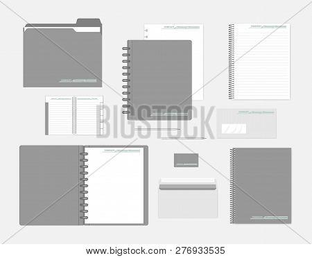 Stationery Mockup Set For Corporate Identity Design. Notebooks, Filler Paper, Folder, Envelope, Busi