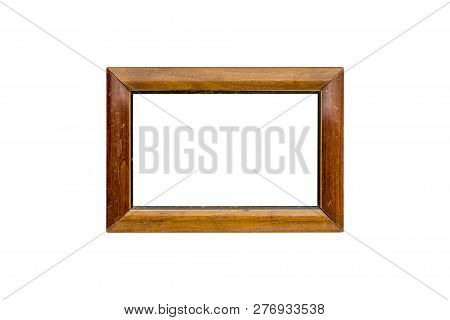 Old Wood Picture Frame, Isolated On White