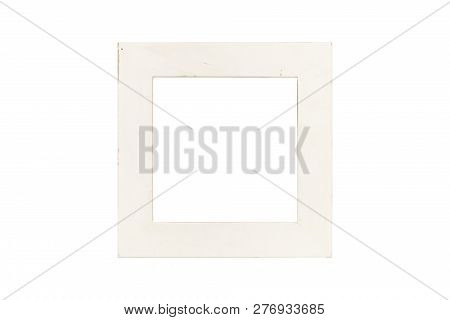 Old White Picture Frame, Isolated On White