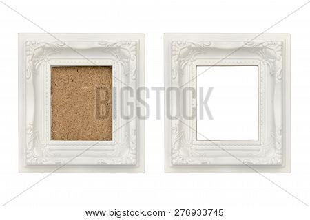 Set Of Two White Plastic Picture Frames With Passepartout, Isolated On White