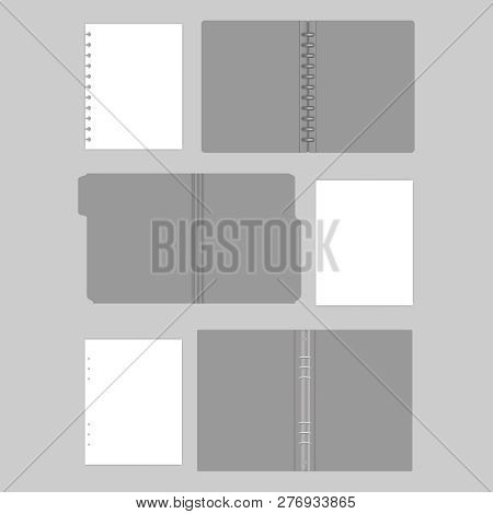 Open Gray Folders, Mockup Set. File Folder With Cut Tab, Disc And Ring Binders With Filler Paper She