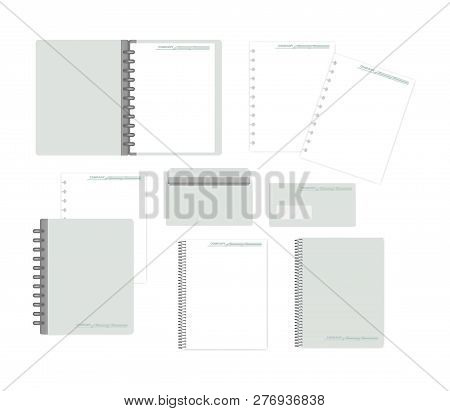 Stationery Mockup Set For Corporate Identity Design. Notebooks, Filler Paper, Envelope Isolated On W