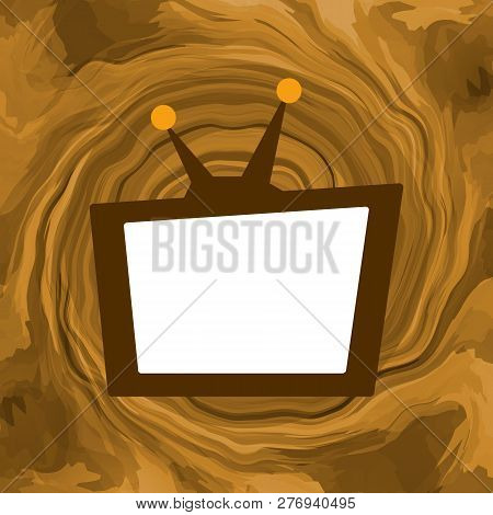 Tv Box With Empty Screen Broadcasting Fake News, Stream Of Lies And Negative Information