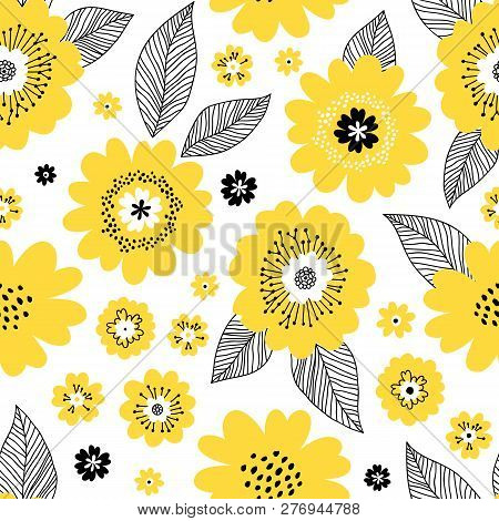 Seamless Repeat Pattern With Yellow Flowers And Black Leaves On White Background. Endless Texture Fo