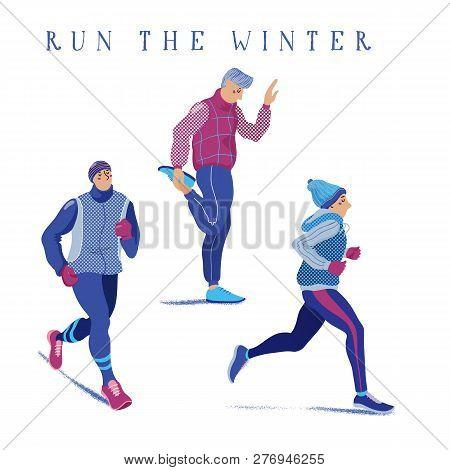 Set Of Young Men Warming Up, Running, Jogging Season, Flat Cartoon Vector Illustration Isolated On W