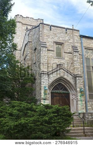 Gothic Style Landmark Church And Side Entrance In Milwaukee Wisconsin