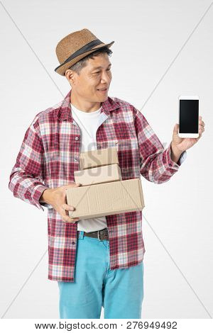 Man Holding Box And Mobile