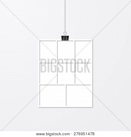 Realistic Vector Frame Hanging With Binder Clips. White Paper Frame. Collage Layout Template. Mock U