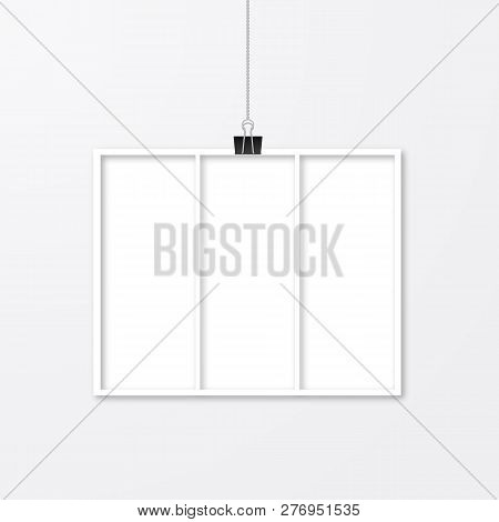 Realistic Photo Frame Hanging With Binder Clips Isolated On White Wall. Photo Collage Vector Templat