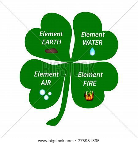 Four-leaf Clover. The Elements Of The Earth, The Elements Of Water, The Elements Of Air, The Element