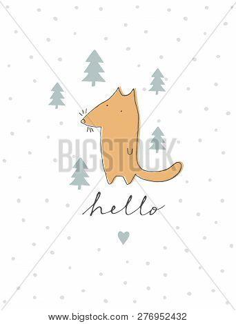 Cute Hand Drawn Fox Vector Illustration. Lovely Infantile Style Nursery Art. Ginger Fox Standing Amo