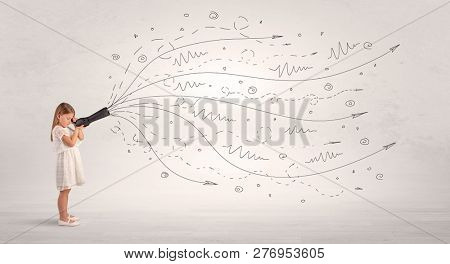 Cute girl looking in spyglass with doodle arrow concept