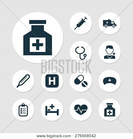 Drug Icons Set With Stings, Infirmary, Brougham And Other Beating Elements. Isolated Vector Illustra